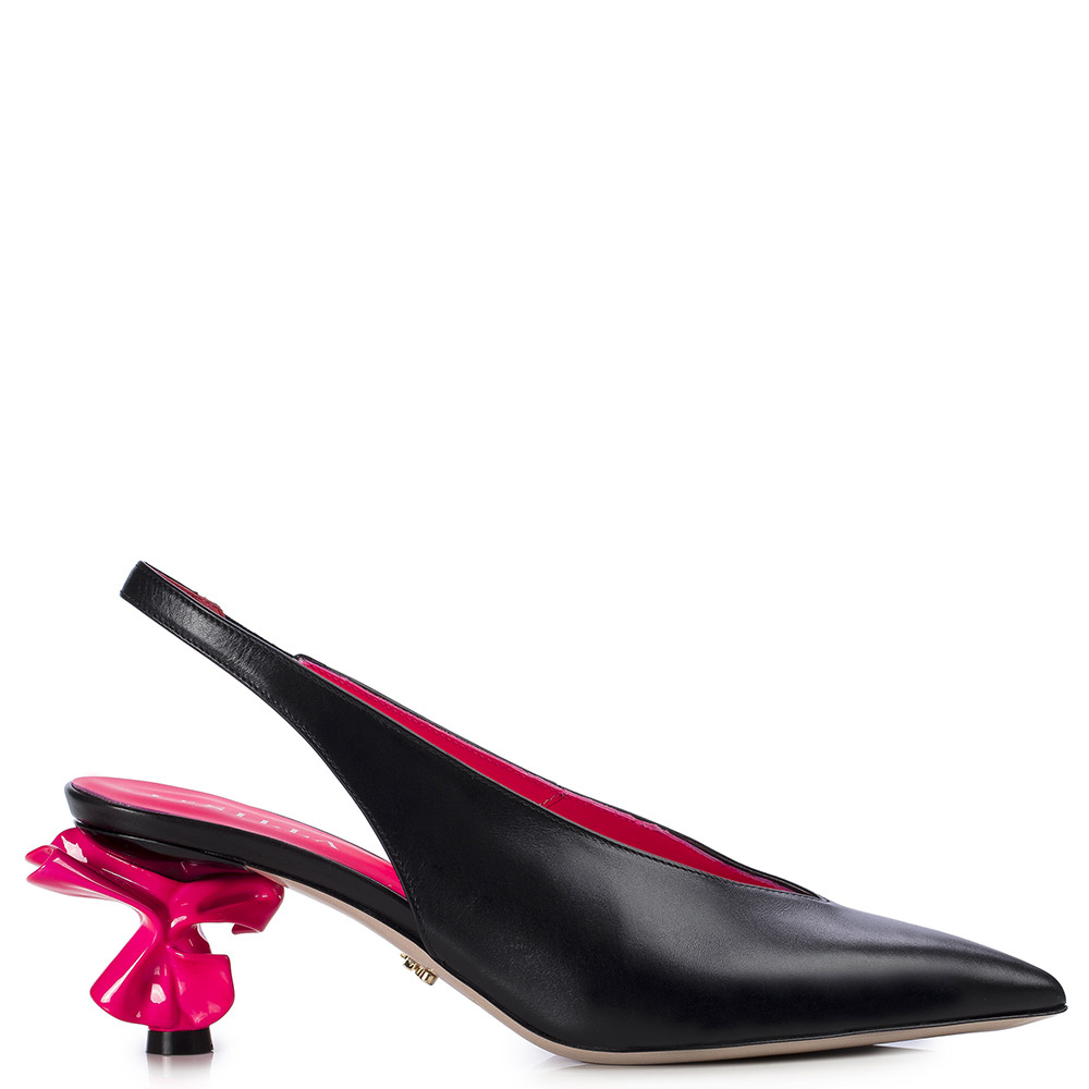 Le Silla Candy Slingback 70 Mm In Black/Fuchsia